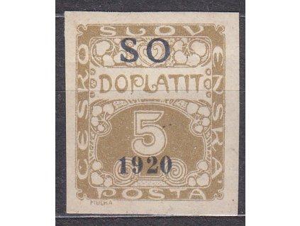 5h Doplatní, modrošedý přetisk, Nr.SO33, * po nálepce