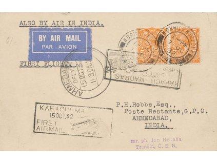 Indie, 1932, DR Norvich Norfolk, letecká karta, první let