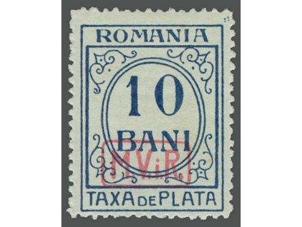 Rumunsko, 1918, 10B doplatní, MiNr.7, * po nálepce