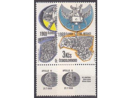 1969, 60h-3Kčs Letecké, dolní kupony, Nr.L72-3, **