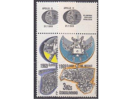 1969, 60h-3Kčs Letecké, horní kupony, Nr.L72-3, **