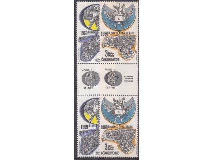 1969, 60h-3Kčs Letecké, spojky, známka-kupon-známka, Nr.L72-3, **