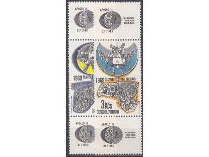 1969, 60h-3Kčs Letecké, spojky, kupon-známka-kupon, Nr.L72-3, **