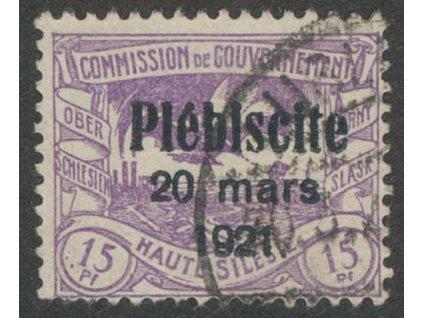 Oberschlesien, 1921, 15Pf s přetiskem, MiNr.31, razítkované