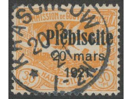 Oberschlesien, 1921, 30Pf s přetiskem, MiNr.34, razítkované