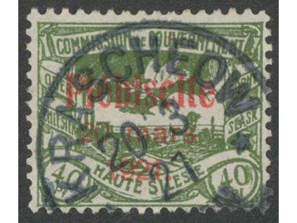 Oberschlesien, 1921, 40Pf s přetiskem, MiNr.35, razítkované