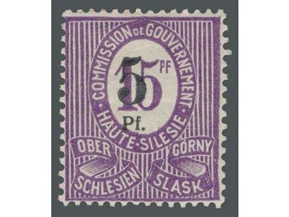 Oberschlesien, 1920, 5Pf/15Pf Fehlaufdruck, MiNr.10F, těžší *