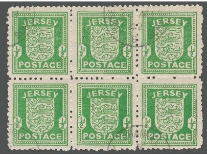 Jersey, 1941, 1/2P Znak, 6blok, MiNr.1, razítkované