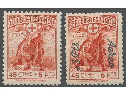 1938, 45C Červený kříž, 2 kusy, MiNr.714,715, */**