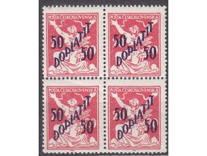 50/20h červená, 4blok, všechny zn. s DV - bílé ruce, Nr.DL49, **, výrobní vlom