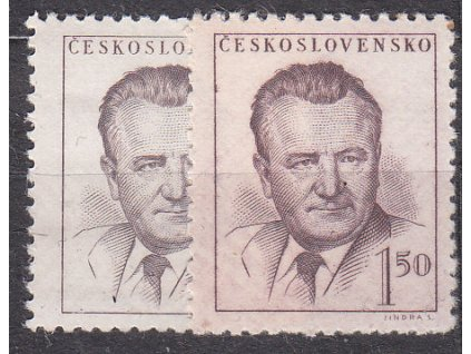 1948, 1.50Kčs Gottwald, 2 ks - odstíny barev, Nr.485, **