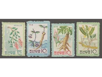 Korea-Nord, 1962, 5-10Ch série Květiny, MiNr.426-29, (*)