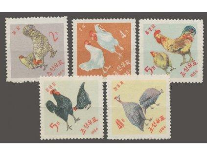 Korea-Nord, 1964, 2-40Ch Domácí drůběž, MiNr.530-34, (*)