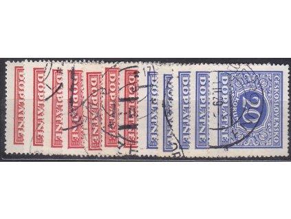 1928, 5h-20Kč série, Nr.DL55-66, razítkované, ilustrační foto