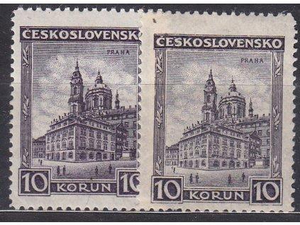 1929, 10Kč Praha, 2 ks - červenofialová a modrofialová, Nr.257,257a, **/*
