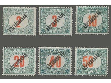 2-50f Červená čísla, přetisk Köztársaság, známky platné v ČSR, * po nálepce