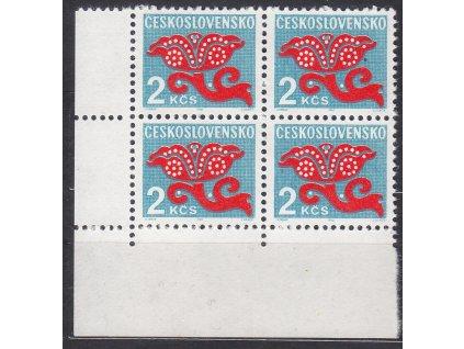 1971, 2Kčs Doplatní, rohový 4blok, papír oz, Nr.DL99, **