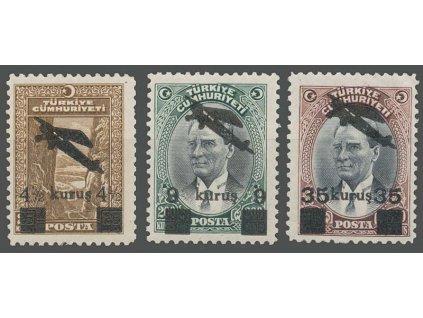 1937, 4 1/2-35K letecká přetisková série, MiNr.1016-18, **