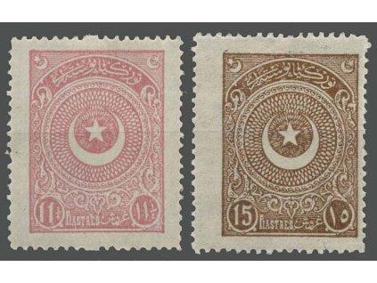 1923, 11 1/4 a 15 Pia Znak, 2 kusy, MiNr.818,819, * po nálepce