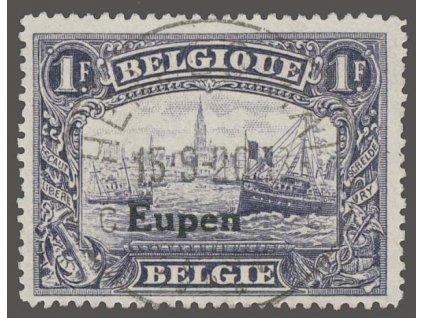 1920, Eupen, 1Fr s přetiskem Eupen, MiNr.11, razítkované