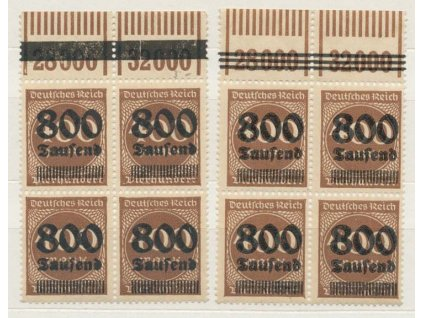 1923, 800 Tsd/400M číslice, kraj. 4bloky, přetisky, **