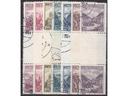 1936, 1.20-3.50Kč trhaná meziarší, Nr.304-10Ms, razítkované, ilustrační foto