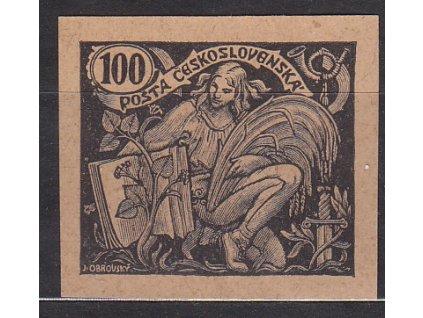 100h černá, nezoubk. ZT na nahnědlém papíru, zk.Gilbert, Nr.164, bez lepu