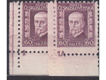 60h fialová, 2 roh. kusy s DČ 1,1A, Nr.207, **/*, ilustrační foto