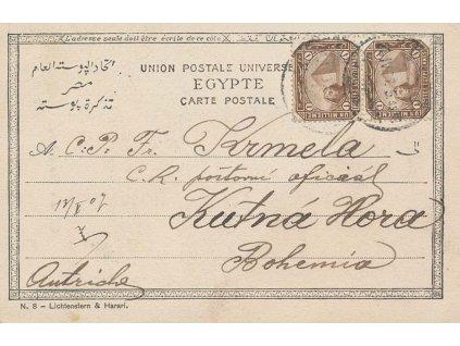 Egypt, 1907, DR Cairo, pohlednice zaslaná do Kutné Hory