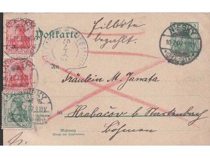 1907, DR Niesky, Ex-dopisnice 5Pg Germanie zaslaná do Čech