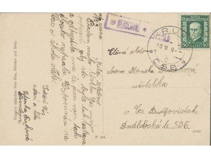 Nesuchyně (Krupá), poštovna na pohlednici, prošlé 1929