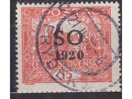 15h cihlově červená, Hz.13 3/4:13 1/2, I.typ spirály, Nr.SO5A, razítkované