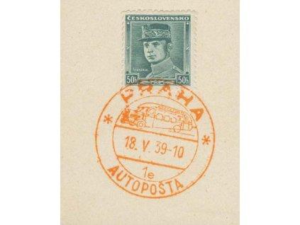 1939, Praha Autopošta, 18.5.39 1e, výstřižek