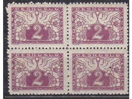 2h fialová, ministr. Řz. 11 1/2, 4blok, Nr.S1, **