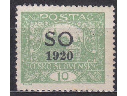 10h zelená, Hz.11 3/4, zk.Karásek, Nr.SO4C, * po nálepce