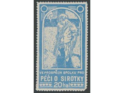 20h Mucha, Péče o sirotky, barva modrá, cca 1920, **
