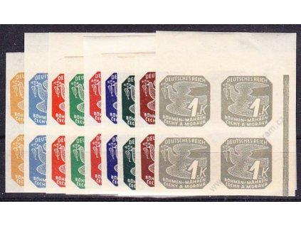 1943, 2h-1K série, pravé horní rohové 4bloky, nepřerušený okraj, Nr.NV10-18, **