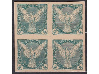 2h zelená, ZT na nahnědlém papíru, 4blok, dvojitý tisk, Nr.NV1, bez lepu