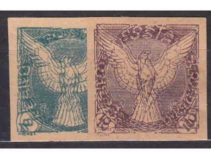 2 a 10h, 2 ks ZT na nahnědlém papíru, dvojitý tisk, Nr.NV1,4, bez lepu