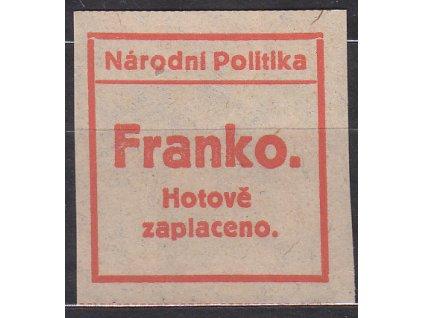 Novinová nálepka Národní politika FRANKO, Nr.NN17, bez lepu