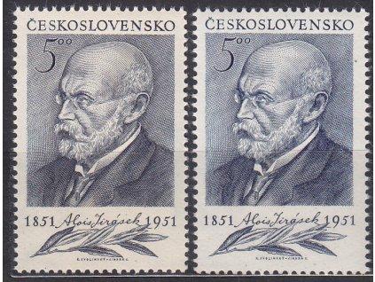 1951, 5Kčs Jirásek, šedomodrá a sv. modrá, Nr.611a,b, **, dvl