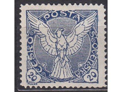 20h modrá, ministr. Řz. 11 1/2, Nr.NV5, * po nálepce, ilustrační foto