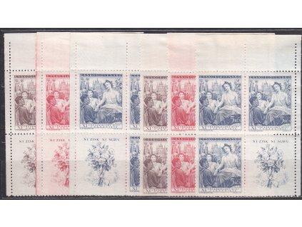 1948, 1.50-5Kčs Všesokolský slet, VK-3 a 4 ve 4bloku, Nr.467-69, **