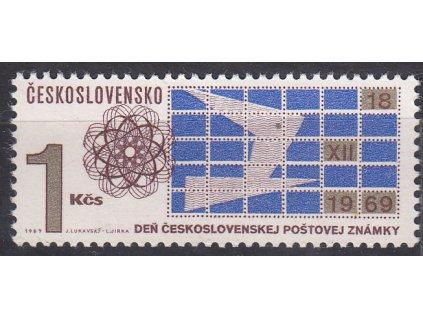 1969, 1Kčs Den čs. zn., DV - zlatá skvrna v křídle holubice, Nr.1803, **
