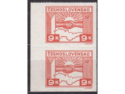 1945, 9K Košické, kraj. 2páska s částečně vynechaným průsekem mezi zn., Nr.357, **