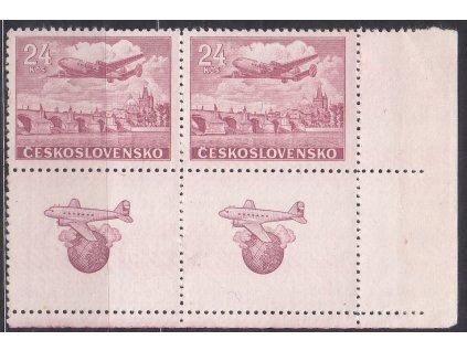 24Kčs Letecké, pravý dolní roh. 4blok, Nr.L23, **