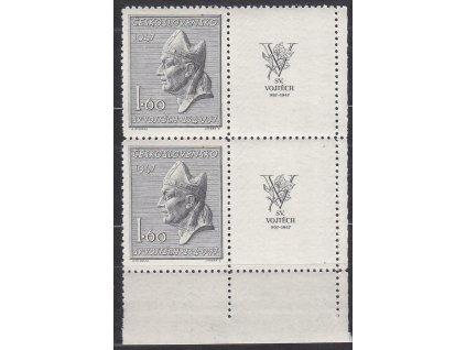 1947, 1.60Kčs sv. Vojtěch, pravý dolní roh. 4blok, Nr.450, * po nálepce
