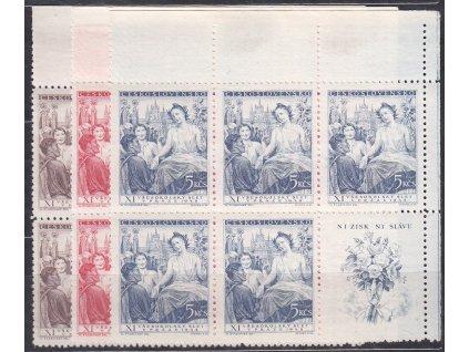 1948, 1.50-5Kčs Všesokolský slet, pravé horní roh. 6bloky, Nr.467-69, **