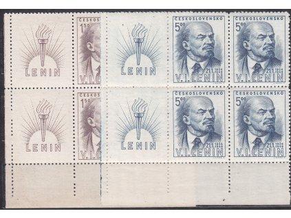 1948, 1.50-5Kčs V.I.Lenin, levé dolní roh. 6bloky, Nr.498-99, **