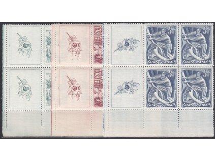 1949, 1.50-5Kčs IX.Sjezd KSČ, roh. 6bloky s kupony, Nr.511-13, **/*